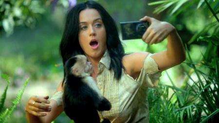 foto del video de katy perry con un mono haciendose una selfie